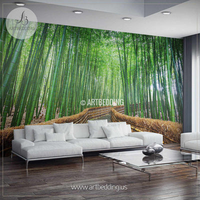 Path to the Bamboo Forest Self Adhesive Peel & Stick, Nature wall mural wall mural