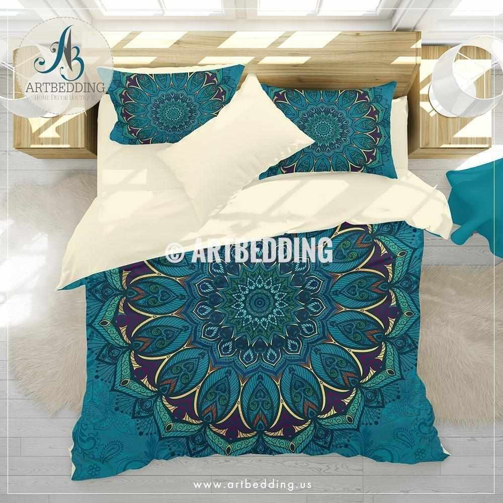 Peacock Mandala bedding, Lavender and turquoise Mandala duvet cover set, Watercolor wildflowers mandala art duvet cover set, Boho mandala comforter set, bohemian bedroom Bedding set
