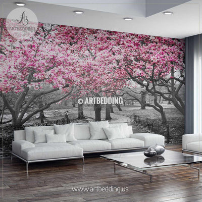Pink Blossoms in Central Park, New York, Black and White Landscape Wall Mural, Self Adhesive Peel & Stick wall mural wall mural