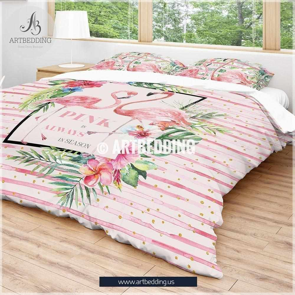 Pink Flamingo designer bedding, Watercolor pink strypes tropical flamingo duvet bedding set, Flamingo duvet cover set, Stripes flamingo comforter set, Pink tropical flowers bedroom decor Bedding set