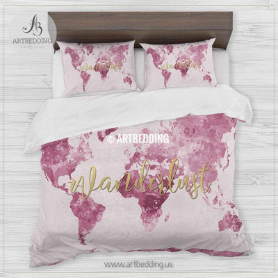 Pink  Wanderlust world map bedding, Watercolor pink and gold world map duvet cover set, Modern wanderlust map comforter set Bedding set