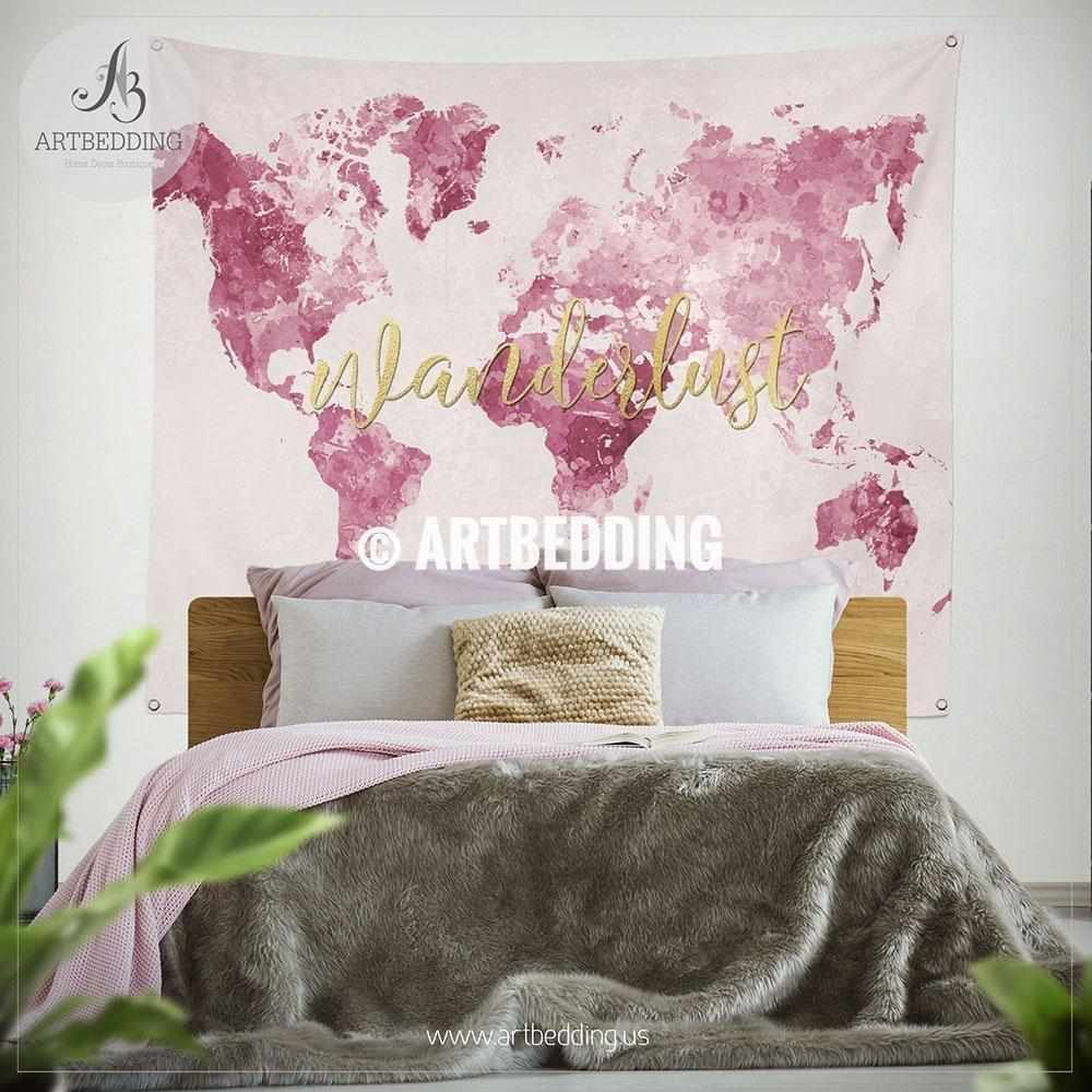 Pink Wanderlust world map bedding, Watercolor pink and gold world ...