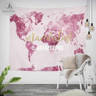 Pink Wanderlust world map wall Tapestry, Boho pink watercolor map wall hanging, bohemian wall tapestries, boho wall decor Tapestry