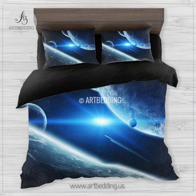 Planet Earth from space bedding set, galaxy duvet cover set, space Bedding set, Cosmos bedroom decor Bedding set