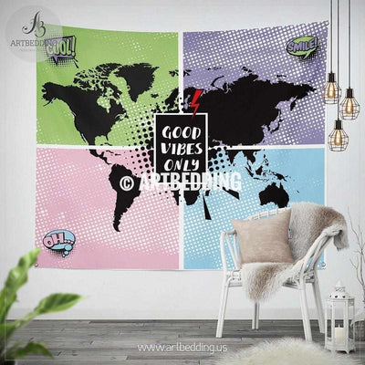 Pop art World map  wall Tapestry, Good vibes only wall hanging, modern world map wall tapestries, pop art wall decor Tapestry