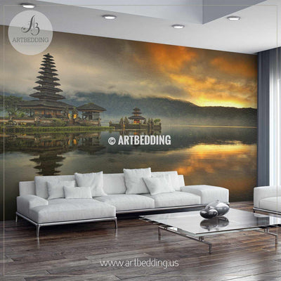 Pura Ulun Danu Beratan Shaivite water temple on Bali, Indonesia Wall Mural, Self Adhesive Peel & Stick wall mural wall mural