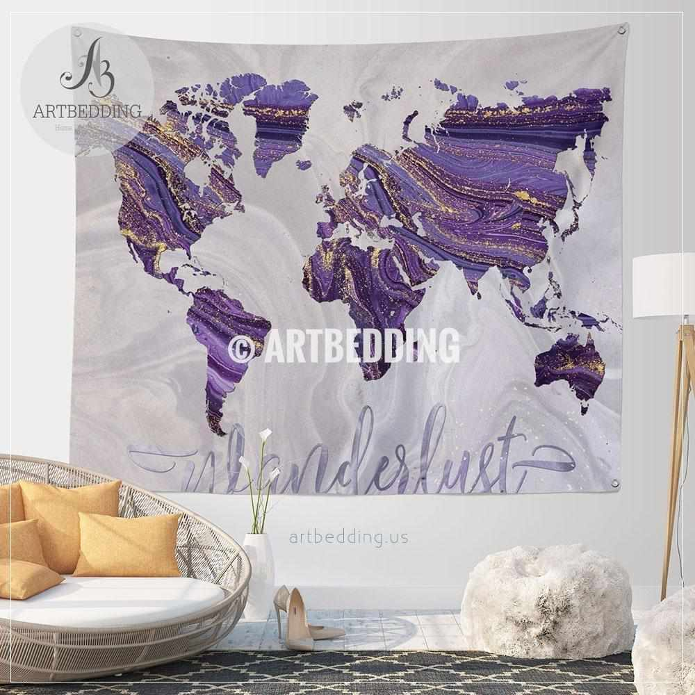 Purple and gold Wanderlust world map wall Tapestry, Boho summer vibes marble  world map wall hanging, bohemian wall tapestries, boho wall decor Tapestry