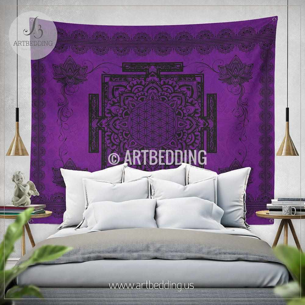 Purple Sacred Yantra WALL Tapestry, Bohemian Wall tapestries, Boho Lotus Mandala Tapestry, Spiritual Flower of life Wall Hanging, artbedding wall art Tapestry