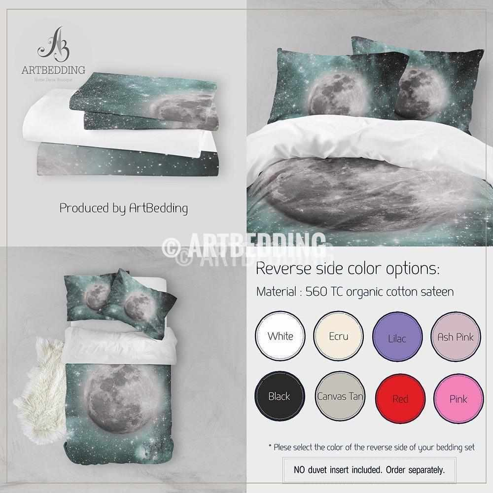 QUEEN SIZE Full moon bedding set, Full moon green Nebula clouds with stars duvet bedding set, Space moon bedroom decor Bedding set