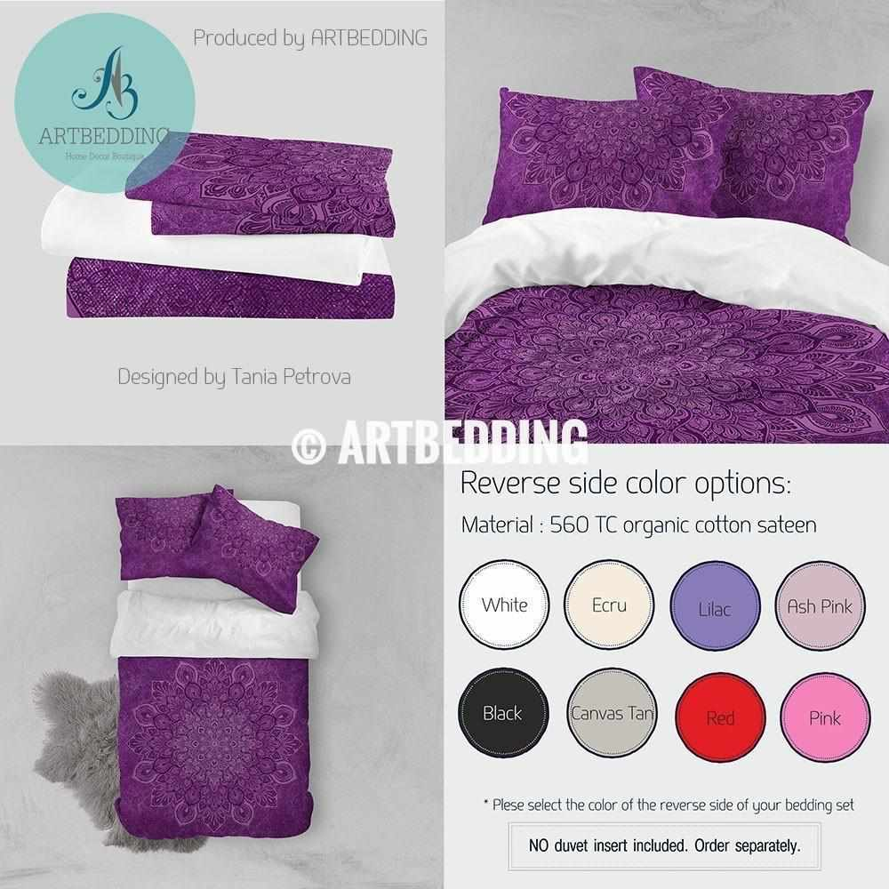 QUEEN size Mandala bedding, Purple sacred mandala boho duvet bedding, Boho duvet cover set, Bohochic interior Bedding set