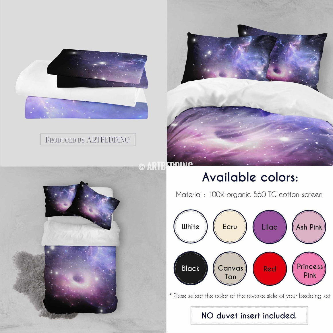 QUEEN size Purple black hole bedding set, Black hole formation in deep space duvet bedding set, Space moon bedroom decor