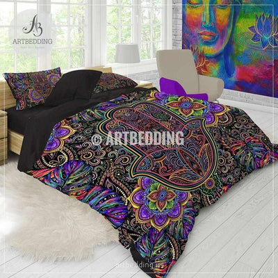 Rainbow hippie bedding, Hamsa hand Mandala bedding, Tropical amulet  hippie mandala comforter set, bohemian bedroom decor Bedding set