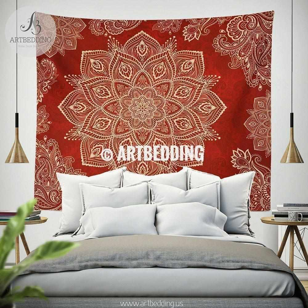 Red Boho mandala TAPESTRY, Crimson Red & Cream beige vintage mandala Wall hanging, Boho Mandala Wall Decor, Mandala Indie Tapestry, artbedding wall art Tapestry