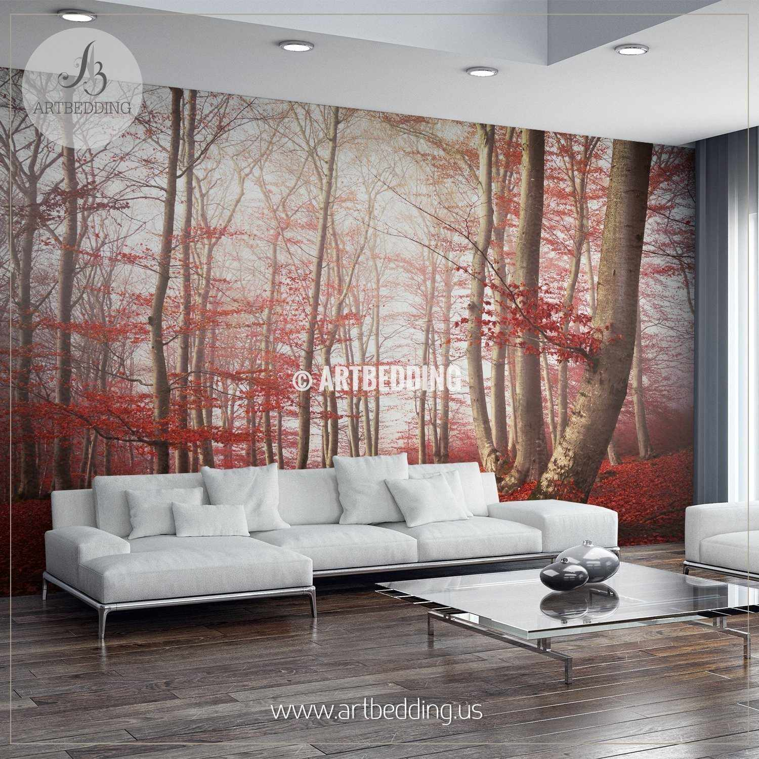 Red leaves in mystical forest wall mural serene forest scene self red leaves in mystical forest self adhesive peel stick nature wall mural wall mural amipublicfo Choice Image