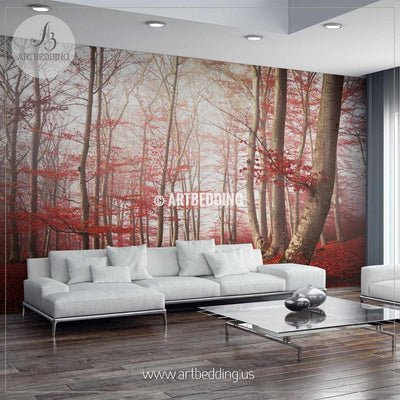 Red Leaves in Mystical Forest Self Adhesive Peel & Stick, Nature wall mural wall mural