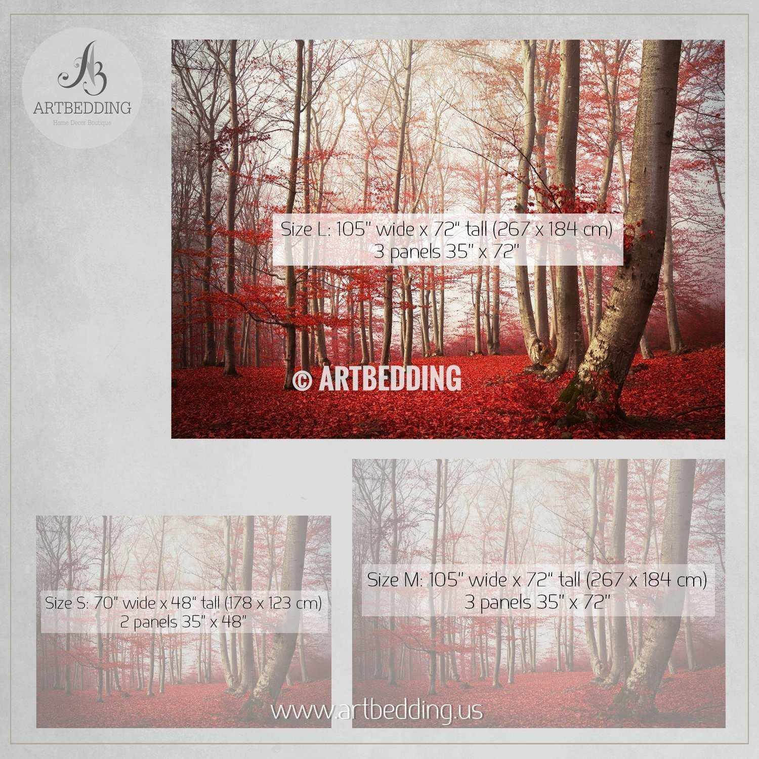 Red Leaves In Mystical Forest Self Adhesive Peel U0026 Stick, Nature Wall Mural  Wall Mural ... Part 74