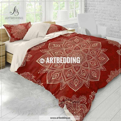 Red Mandala bedding, red and cream beige mandala bedding, Boho mandala comforter set, mandala duvet cover set, bohemian decor Bedding set