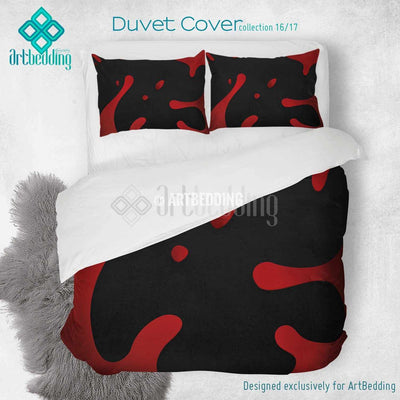 Red splashes printed Duvet cover, premium Red splashes duvet cover, Cotton sateen duvet cover, Red grunge art print duvet cover, artbedding duvet cover