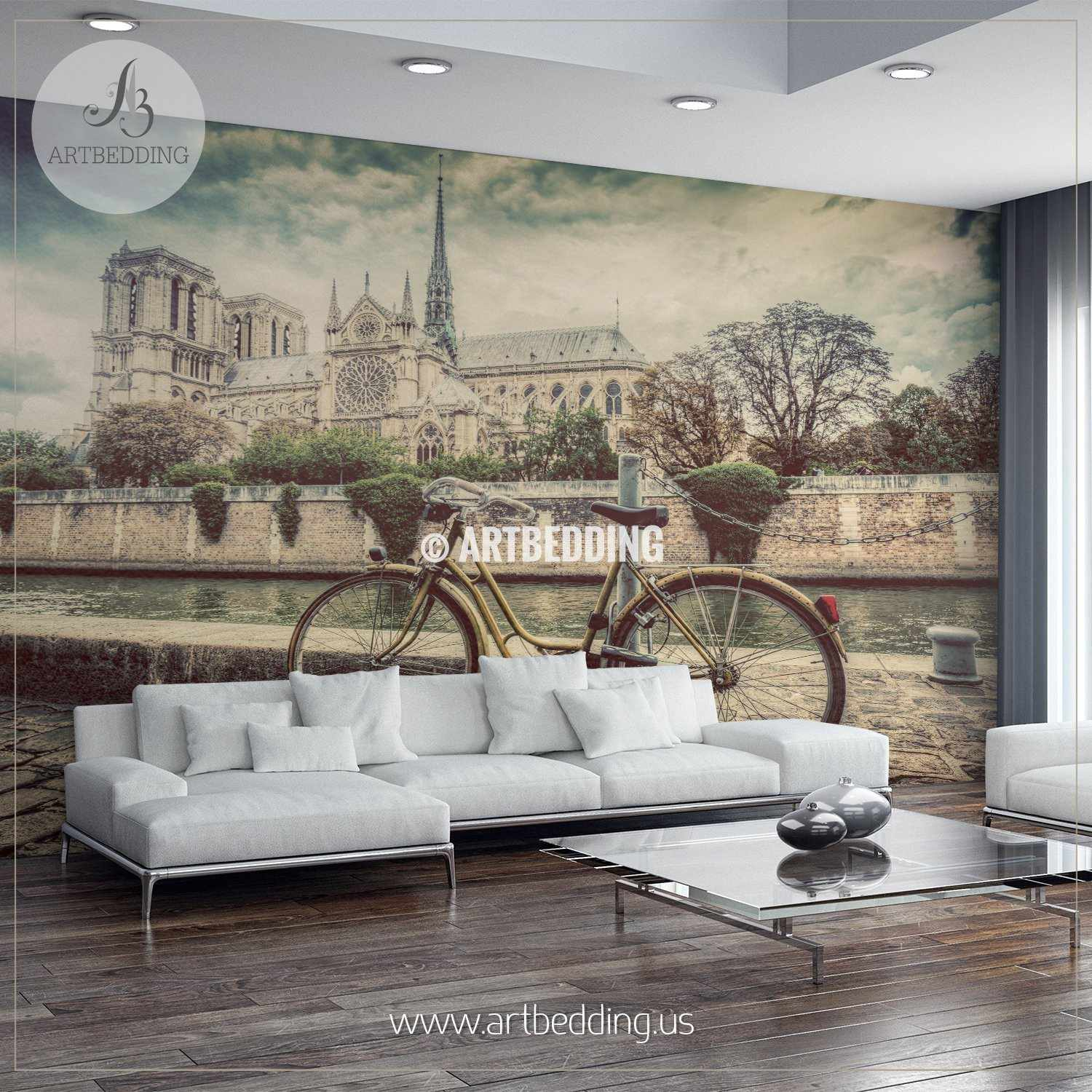 Retro Bike Next To Notre Dame Cathedral In Paris Wall Mural, Photo Mural,  Wall ...