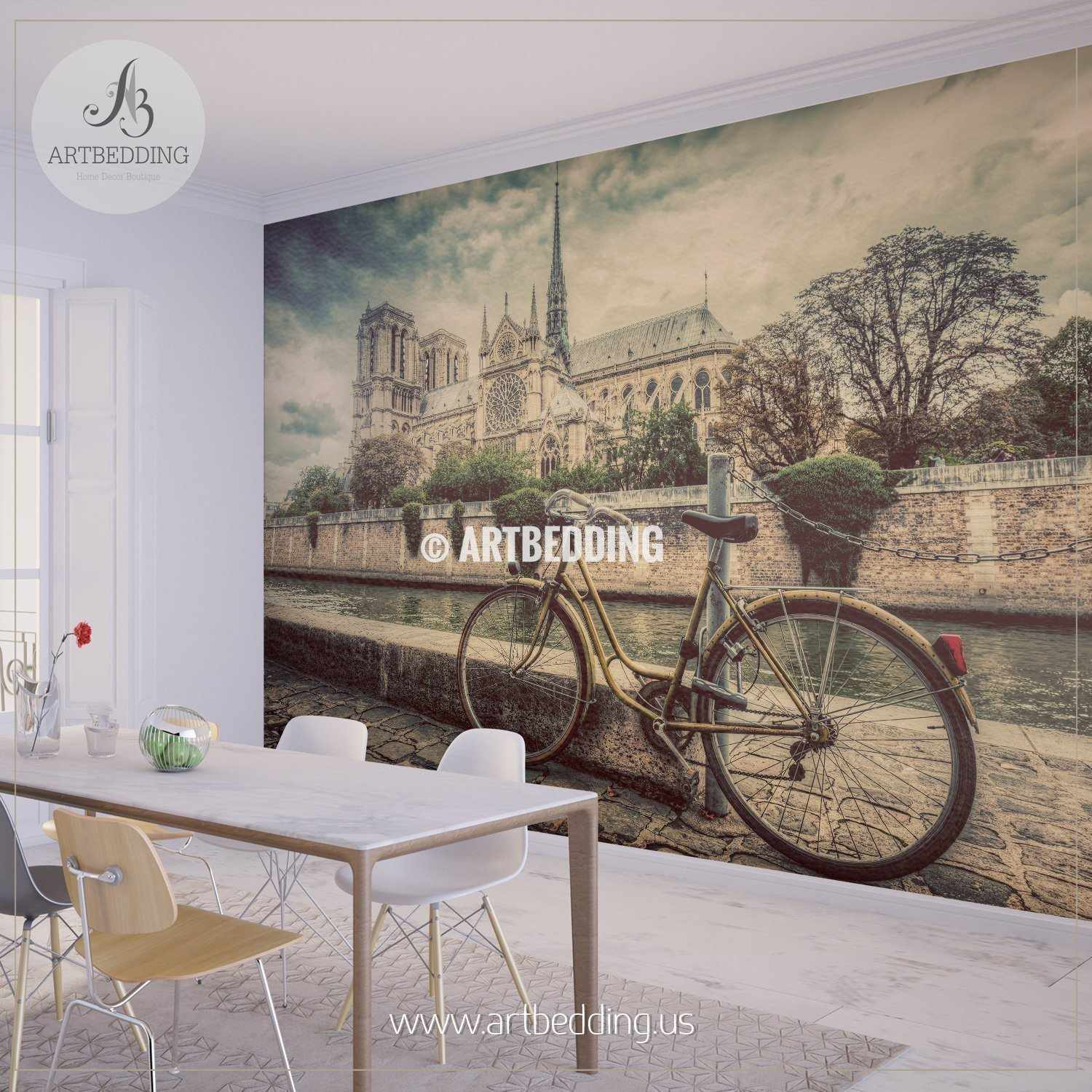 ... Retro Bike Next To Notre Dame Cathedral In Paris Wall Mural, Photo Mural,  Wall ...