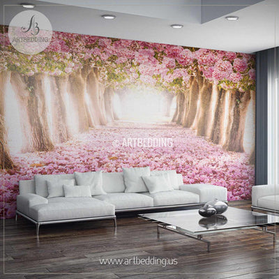 Romantic Pink Flowered Trees Wall Mural, Self Adhesive Peel & Stick Photo Mural, Forest wall mural, Photo mural home decor wall mural