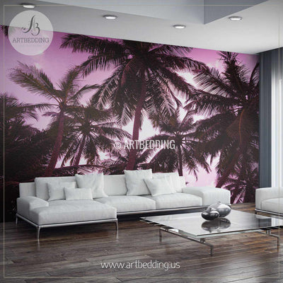 Romantic Sunset on Exotic Beach Wall Mural, Self Adhesive Peel & Stick Photo Mural, Nature photo mural home decor wall mural