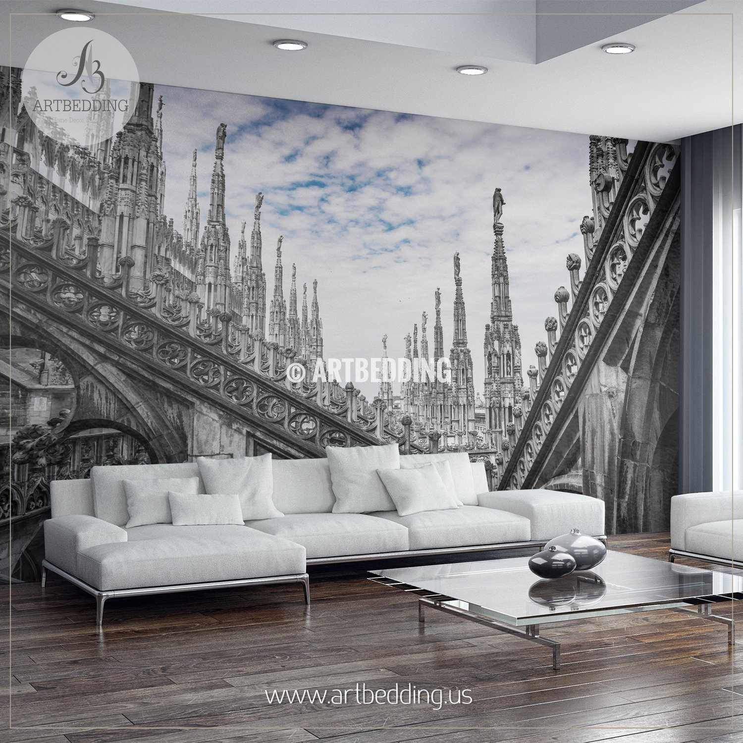 Cologne Cathedral At Dusk Evening Cityscape Wallpaper: Self-adhesive Vinyl