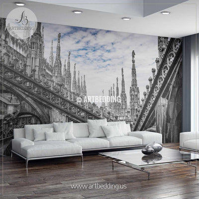 Roof terraces of Milan Cathedral, Lombardia, Italy Wall Mural, Landmarks Photo Mural, Italy cityscape photo mural wall mural