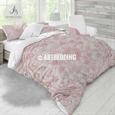 Rose gold Mandala bedding, Rose gold and marble mandala bedding, Bohochic bedding set, Indie mandala duvet cover set, bohemian decor Bedding set