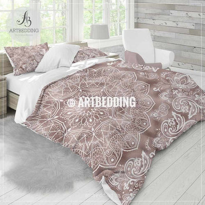 Rose gold Mandala bedding, Rose gold and white mandala bedding, Bohochic bedding set, Indie mandala duvet cover set, bohemian decor Bedding set