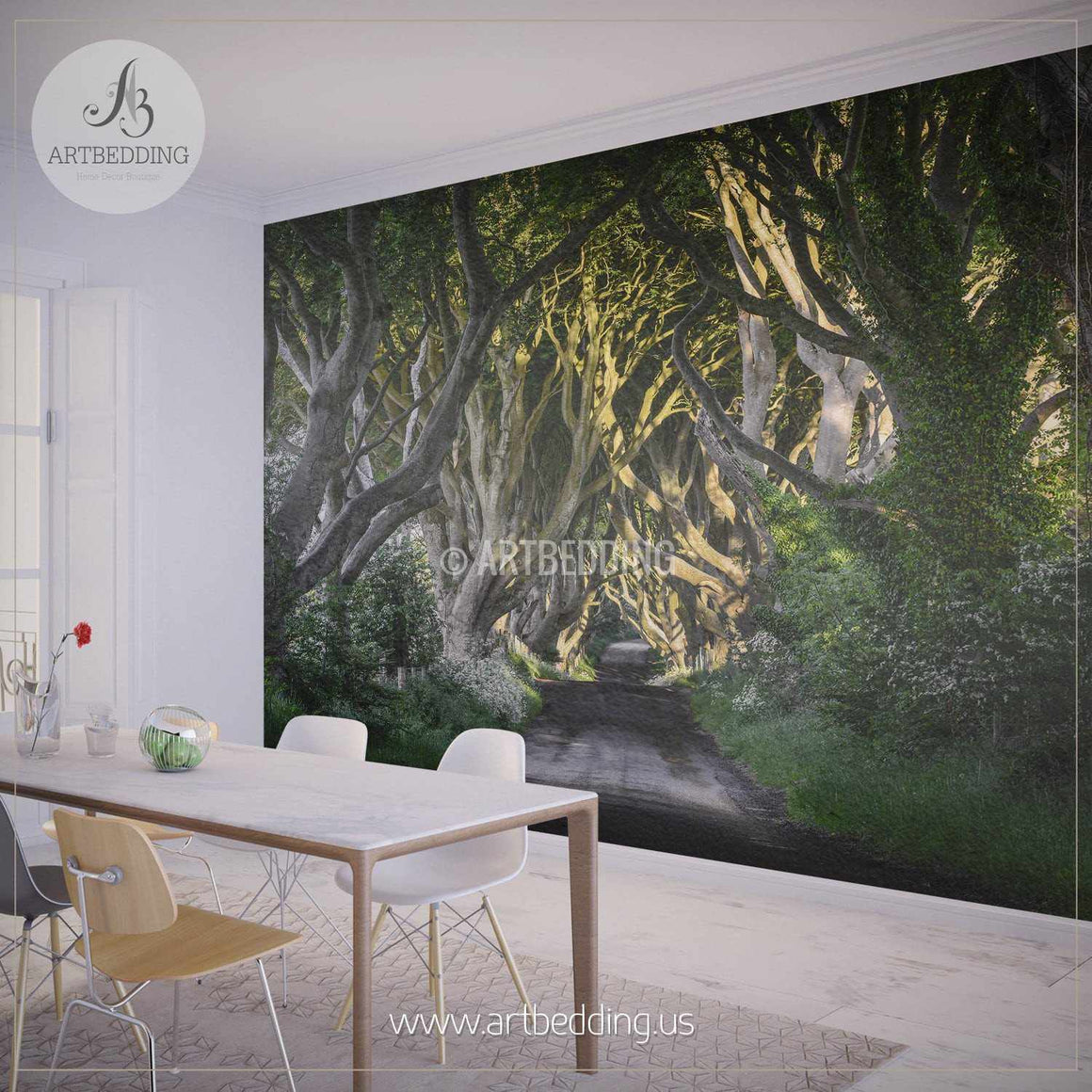 Route through Forest Wall Mural, Self Adhesive Peel & Stick Photo Mural, Nature photo mural home decor wall mural