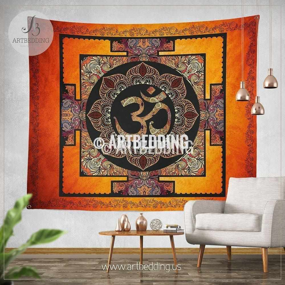 S size Boho Tapestry, Sacred Yantra wall tapestry, Hippie tapestry wall hanging, Spiritual bohemian decor Tapestry
