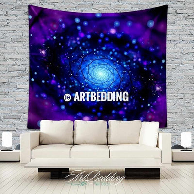 S size Galaxy Tapestry, Purple spiral galaxy wall tapestry, Galaxy tapestry wall hanging, Spiral galaxy wall tapestries, Galaxy home decor, Space wall art print Tapestry