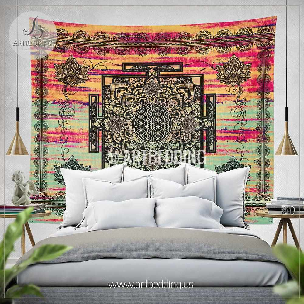 Sacred Yantra WALL Tapestry, Bohemian Wall tapestries, Boho Lotus Mandala Tapestry, Spiritual Flower of life Wall Hanging, artbedding wall art Tapestry