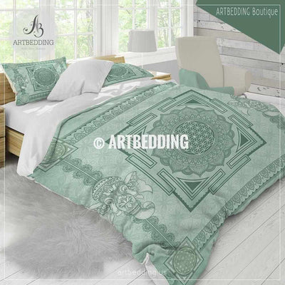 Sage green Boho bedding, Sacred yantra talisman Seed of Life duvet cover set, Elephant mandala duvet cover set, spiritual bedspread Bedding set