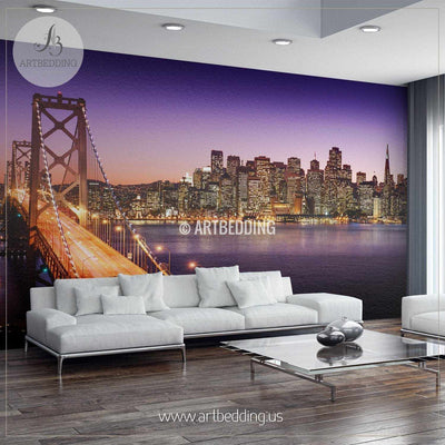 San Francisco Oakland Bay Bridge Cityscape Wall Mural, USA Photo sticker, USA wall decor wall mural