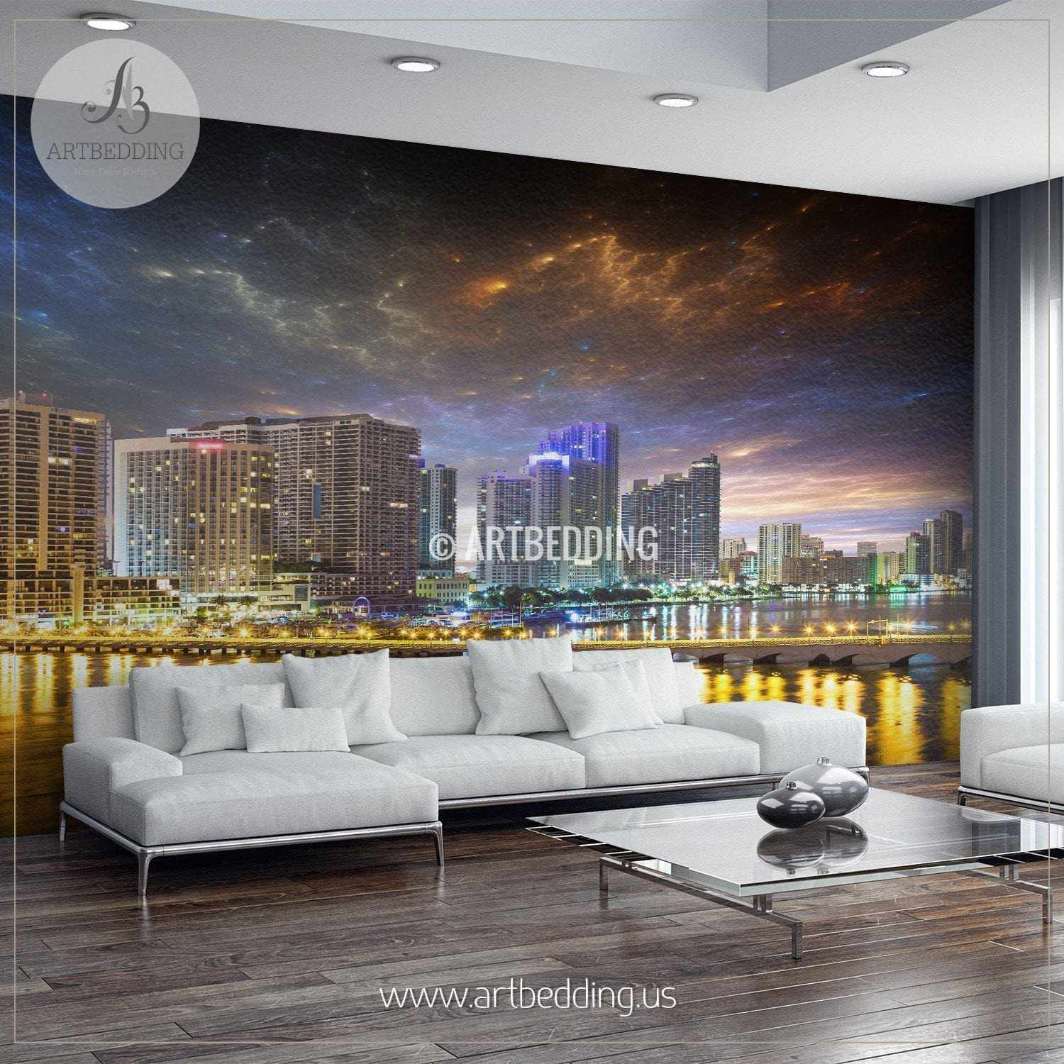 Sci fi downtown miami night cityscape wall mural usa for Cityscape mural