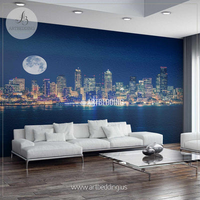 Seattle Night Skyline Cityscape Wall Mural, Seattle Photo sticker, USA wall decor wall mural