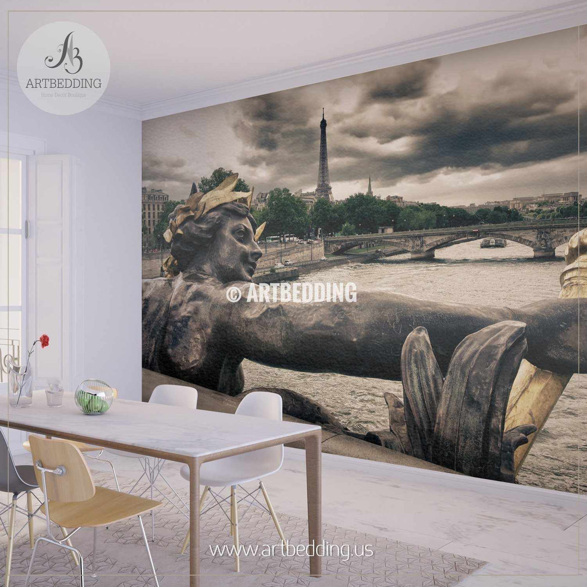Seine River and Eiffel Tower viewed from Alexander III bridge Wall Mural, Photo Mural, wall décor wall mural