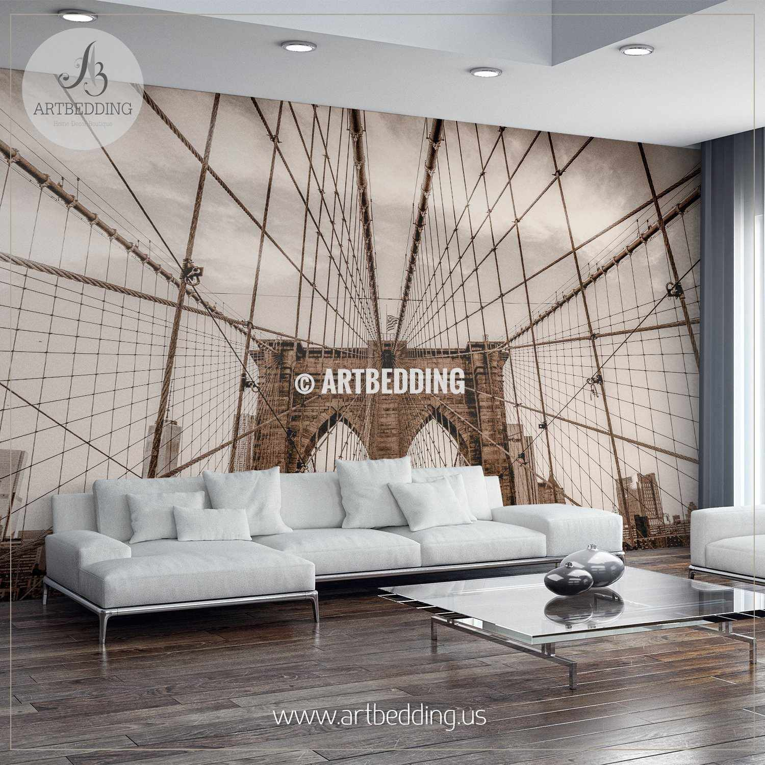 Sepia toned vintage look Brooklyn bridge wires Wall Mural Cityscape