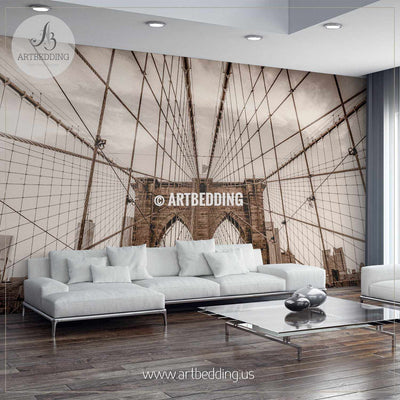 Sepia toned vintage look Brooklyn bridge wires Wall Mural, Photo Mural, wall décor wall mural