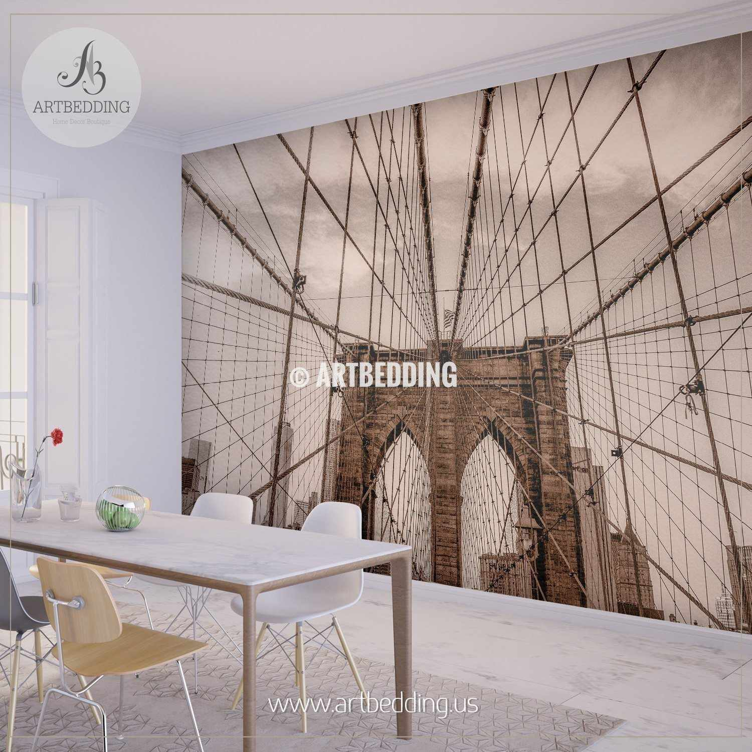 Sepia toned vintage look Brooklyn bridge wires Wall Mural, Cityscape ...