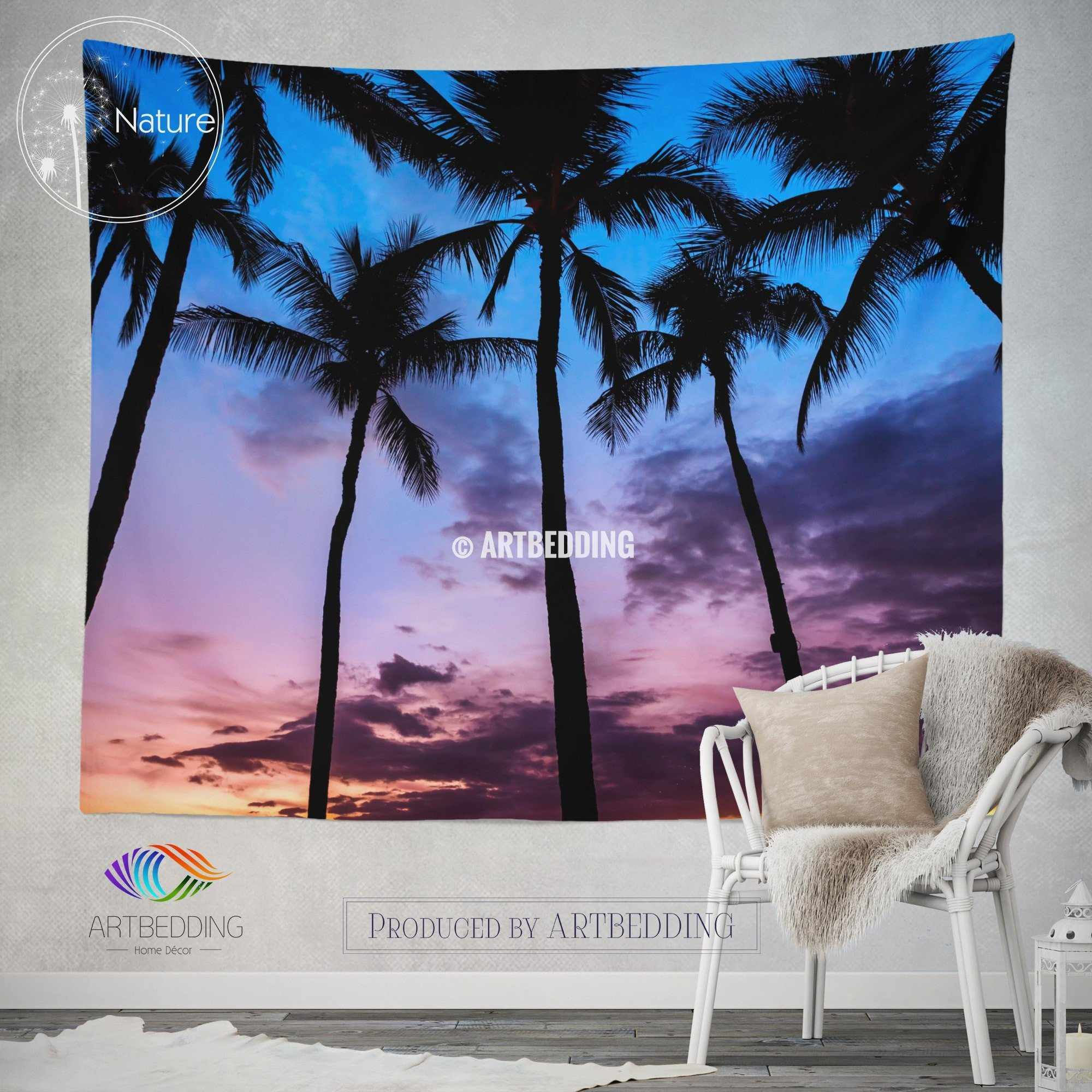... Serenity Wall Tapestry, Tropical Beach At Sunset Wall Tapestry, Old  Photo Beach Wall Decor ...