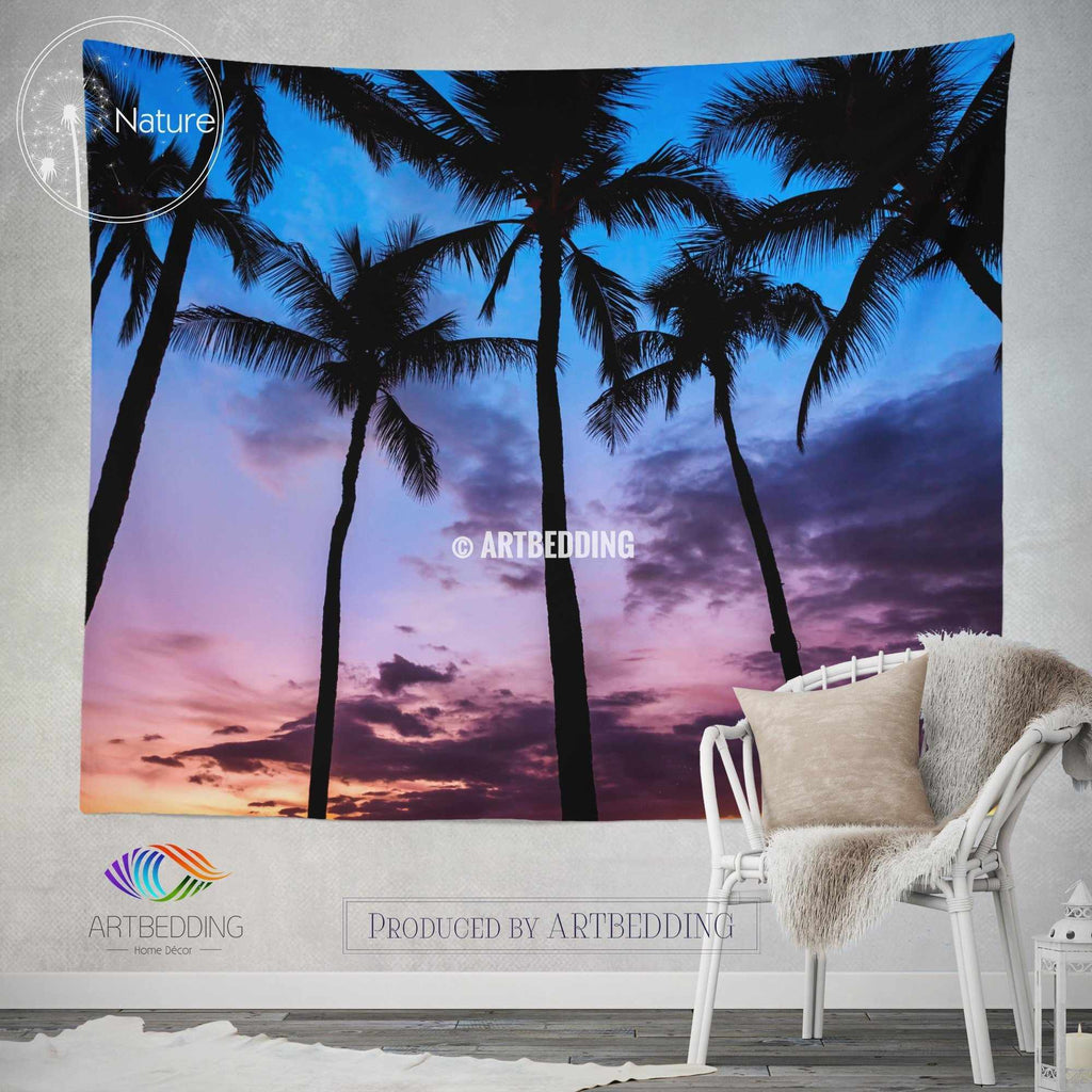 Serenity wall tapestry, Tropical beach at sunset wall tapestry, Old photo beach wall decor, Palm trees wall hanging, bohemian wall tapestry