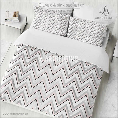 Silver and pink abstract zigzag geometry Duvet cover, White handpainted watercolor background with silver and pink abstract zigzag stripes geometry pattern duvet cover, artbedding duvet cover