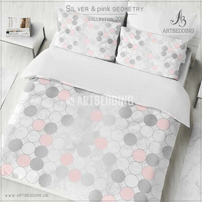 Silver and pink psychedelic geometry Duvet cover, White handpainted watercolor background with silver and pink psychedelic circle geometry pattern duvet cover, artbedding duvet cover
