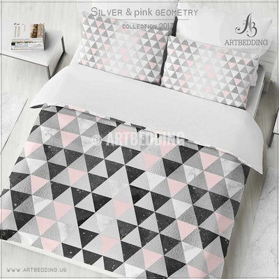Silver foil triangle geometry Duvet cover,  Beautiful white handpainted watercolor texture with black, light pink & silver foil triangle geometry pattern duvet cover, artbedding duvet cover