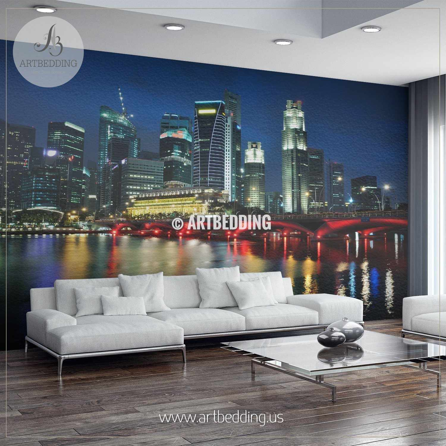 Singapore Skyline And River At Blue Hour Wall Mural Singapore Photo