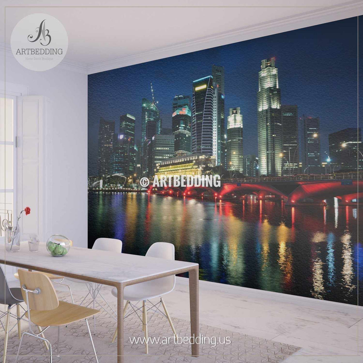 Singapore skyline and river at blue hour Wall Mural, Singapore Photo Mural, Singapore wall décor wall mural