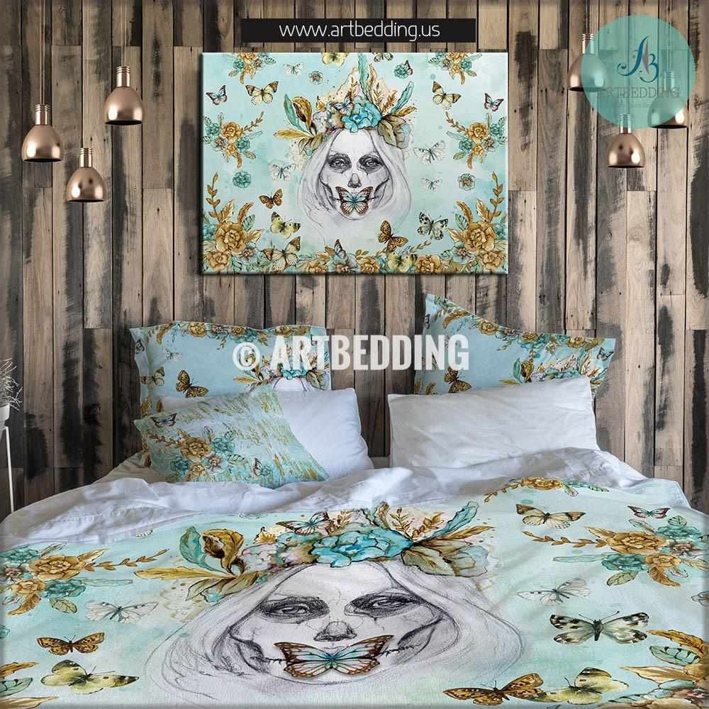 Skull Girl Art Illustration Bohemian Bedding Set Boho